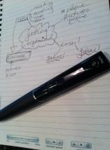 Livescribe echo pen and livescribe dot paper.