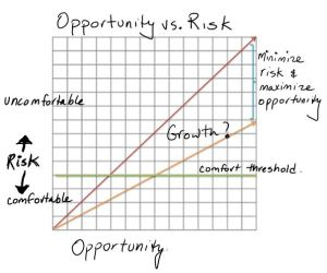Lines show 2 possible relationships between opportunity and risk.